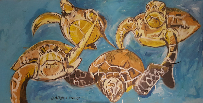 (CreativeWork) Sea Turtles  by Leah Justyce  (BaVa). Oil Paint. Shop online at Bluethumb.