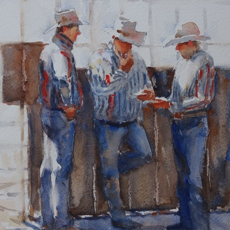 (CreativeWork) Before the ride by Lorraine Lewitzka. Watercolour Paint. Shop online at Bluethumb.