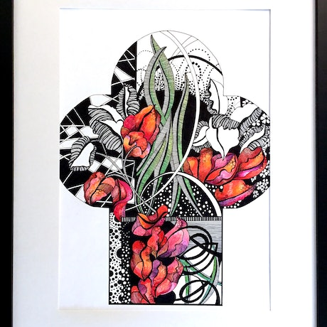 (CreativeWork) Creeping Bougainvillea - Stained Glass Template by Tania Daymond. Drawings. Shop online at Bluethumb.