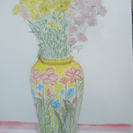 (CreativeWork) Chrysanthemum flowers on the kitchen table by Leonid Gaisinovitch. Drawings. Shop online at Bluethumb.