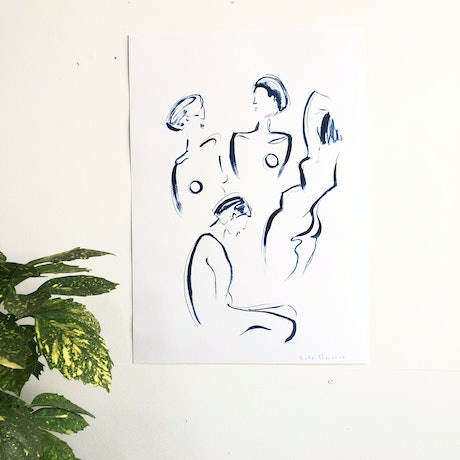 (CreativeWork) Women In Blue  by Kate Florence. Drawings. Shop online at Bluethumb.