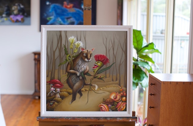 Conversation Cat And Gum Tree Flower Surrealism By