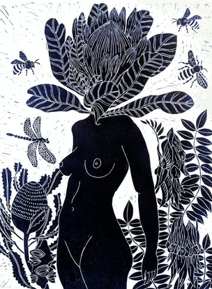 (CreativeWork) Penny Protea Lino print - Printed in Prussian Blue - Framed Ed. 18 of 150 by Marinka Parnham. Print. Shop online at Bluethumb.