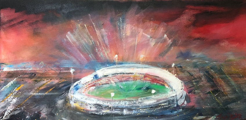 (CreativeWork) Liverpool at the MCG by Tina Barr. Acrylic Paint. Shop online at Bluethumb.