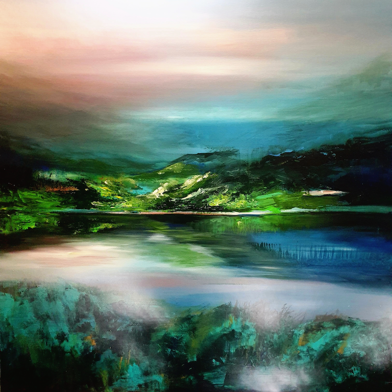 (CreativeWork) Grandiloquent Landscape  by Alice Howell. Oil Paint. Shop online at Bluethumb.