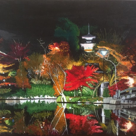 (CreativeWork) Foliage in Kyoto by Reina Muller. Acrylic Paint. Shop online at Bluethumb.
