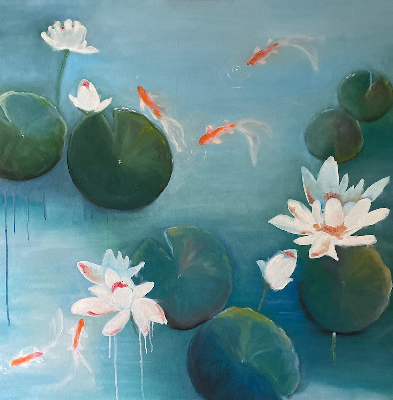 (CreativeWork) Butterfly Koi by Kerry-Anne Knibbs. Oil Paint. Shop online at Bluethumb.