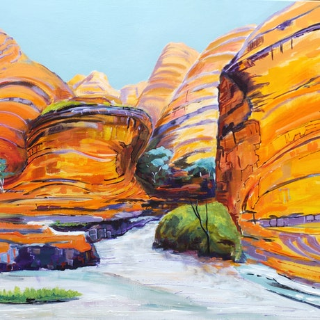 (CreativeWork) Bungle Bungle Heat by Lyn Watts. Acrylic Paint. Shop online at Bluethumb.