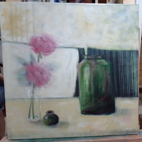 (CreativeWork) Green Jug by Mary Foster. Oil Paint. Shop online at Bluethumb.