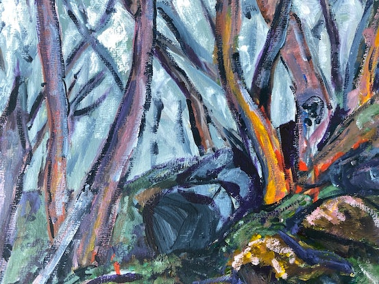 (CreativeWork) Snow Gums by Kate Gradwell. Acrylic Paint. Shop online at Bluethumb.