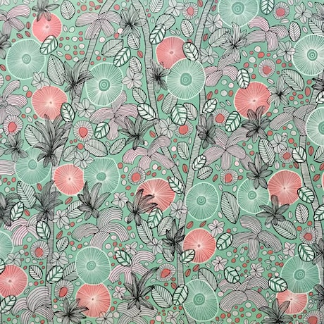 (CreativeWork) Pink, green and White  blooms - CZ20015 by Carol Zsolt. Acrylic Paint. Shop online at Bluethumb.
