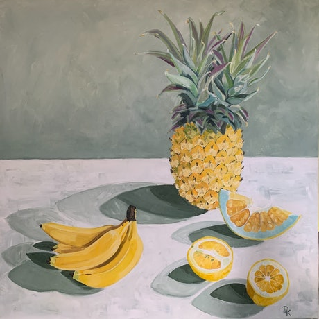 (CreativeWork) In The Company Of A Pineapple by Dominika Keller. Acrylic Paint. Shop online at Bluethumb.
