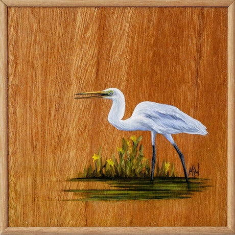 (CreativeWork) Egret of Elegance by Michelle Williamson. Oil Paint. Shop online at Bluethumb.
