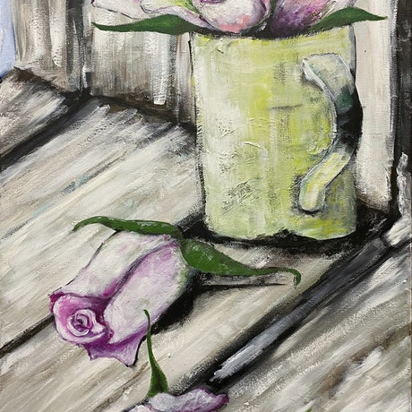 (CreativeWork) Cup of Roses by the Window by Amanda Morton. Acrylic Paint. Shop online at Bluethumb.