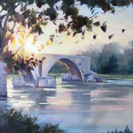 (CreativeWork) Sunset over Avignon. by Vivi Palegeorge. Oil Paint. Shop online at Bluethumb.