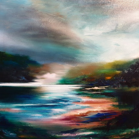 (CreativeWork) Across the River  by Alice Howell. Oil Paint. Shop online at Bluethumb.