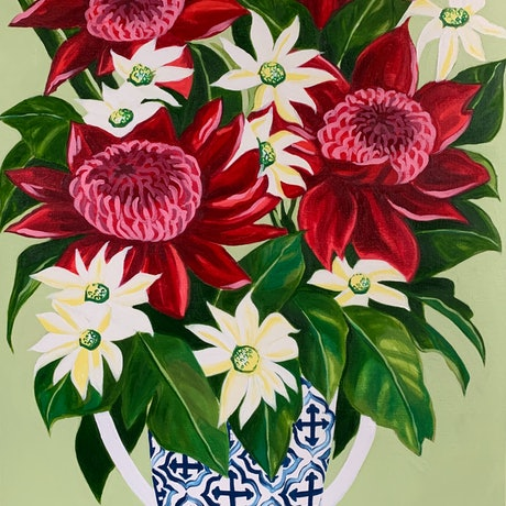(CreativeWork) Waratah and the Tea Towel   by Alicia Cornwell. Oil Paint. Shop online at Bluethumb.