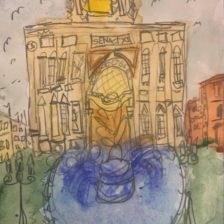 (CreativeWork) Dreaming in watercolours: Trevi Fountain Roma. by Sinèad Nunan. Watercolour Paint. Shop online at Bluethumb.