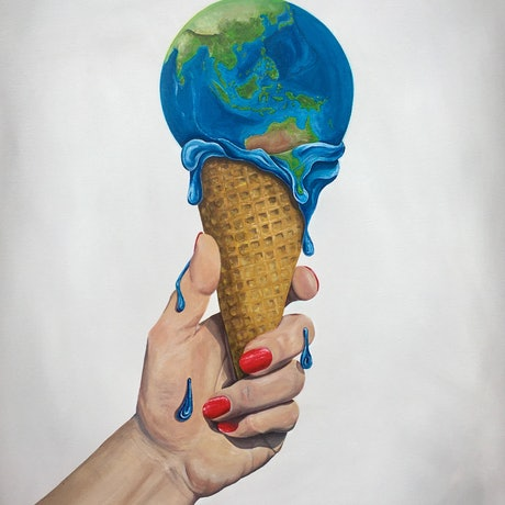 (CreativeWork) In Our Hands - Fight Against Climate Change - off-set carbon emissions by Lara Louise Karpeljuk. Acrylic Paint. Shop online at Bluethumb.
