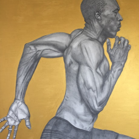 (CreativeWork) Usain Bolt (USA) the fastest man in the world! by Tom Keel. Mixed Media. Shop online at Bluethumb.