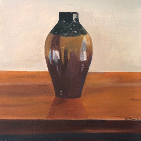 (CreativeWork) Red vase by Bernadette McConville. Oil Paint. Shop online at Bluethumb.