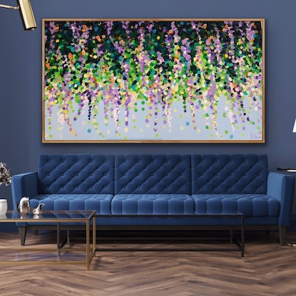 (CreativeWork) Flowering wisteria 200x102 framed large textured abstract by Sophie Lawrence. Acrylic Paint. Shop online at Bluethumb.