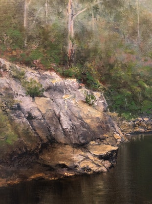 (CreativeWork) Smoke Haze at Blue Pool by Melissa Kenihan. Oil Paint. Shop online at Bluethumb.