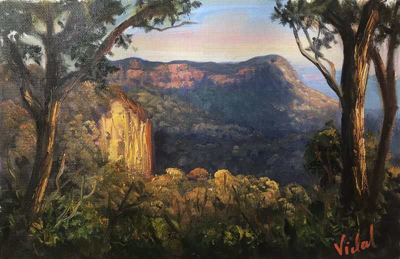 (CreativeWork) Last light on Narrow Neck, Blue Mountains - oil on loose linen by Christopher Vidal. Oil Paint. Shop online at Bluethumb.