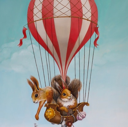 (CreativeWork) Keep Walking | Dogs and Hot air Balloon | surrealism by Yulia Pustoshkina. Oil Paint. Shop online at Bluethumb.