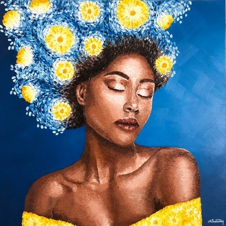 (CreativeWork) Midnight Daisies  by Ashley Bunting. Oil Paint. Shop online at Bluethumb.