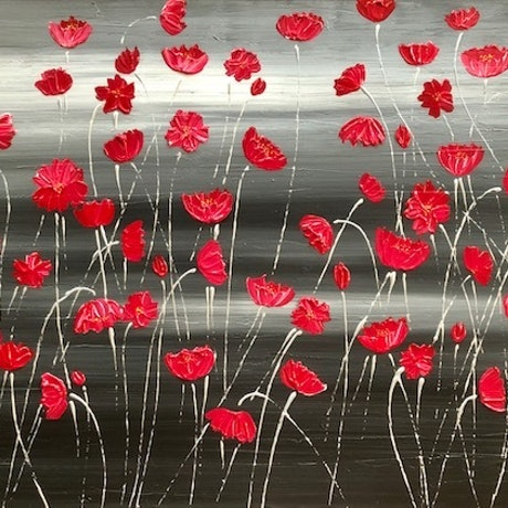 (CreativeWork) Tall Poppies Original Textured Painting by Debra Ryan. Mixed Media. Shop online at Bluethumb.