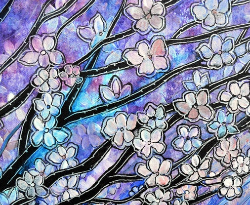 (CreativeWork) Cherry Blossom Stroll by Linda Callaghan. Mixed Media. Shop online at Bluethumb.