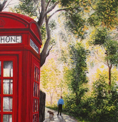 (CreativeWork) The old red phone booth by Debra Dickson. Acrylic Paint. Shop online at Bluethumb.