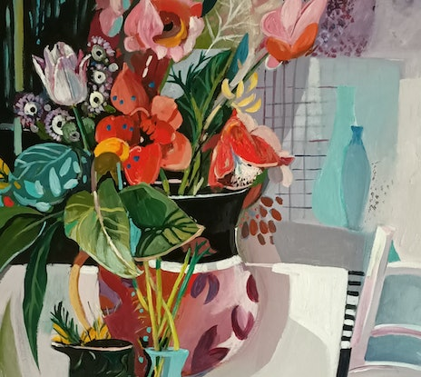 (CreativeWork) Abstract Still Life - Red Flowers and Fruit by Susan Trudinger. Acrylic Paint. Shop online at Bluethumb.