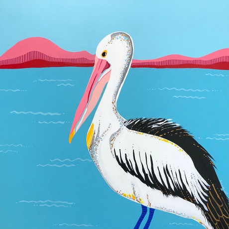(CreativeWork) Pelican on Lake Wooloweyah by emma whitelaw. Acrylic Paint. Shop online at Bluethumb.