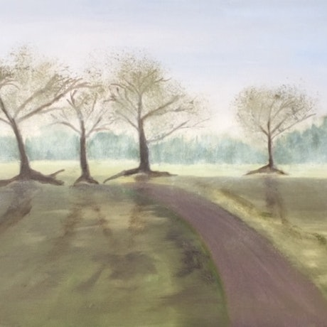 (CreativeWork) Foggy Morning Eltham Vic. by Basil Mitchell. Oil Paint. Shop online at Bluethumb.