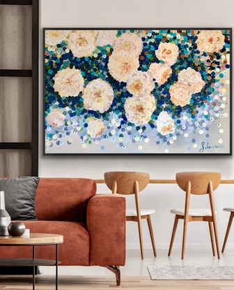 (CreativeWork) On sale Beautiful blooms 152x102 framed large textured abstract roses  by Sophie Lawrence. Acrylic Paint. Shop online at Bluethumb.