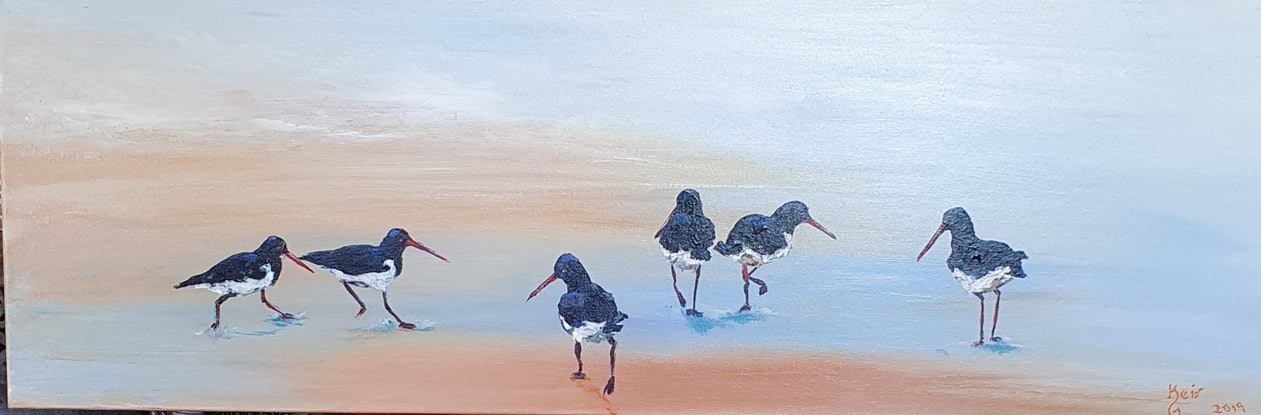 (CreativeWork) Oyster catchers by Keir Jamieson. Acrylic Paint. Shop online at Bluethumb.