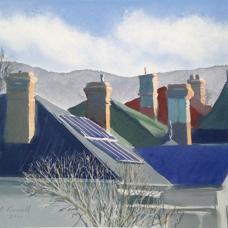 (CreativeWork) Rooftops in Bellevue Parade Ed. 1 of 3 by Michael Bessell. Print. Shop online at Bluethumb.