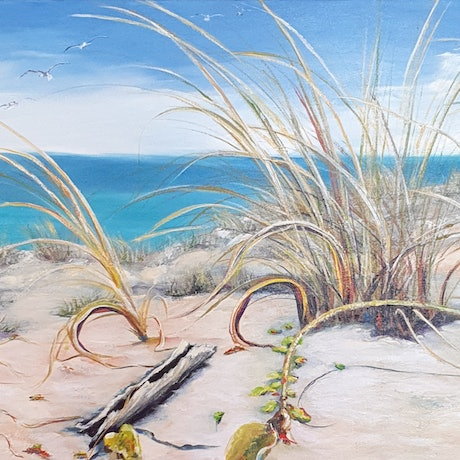 (CreativeWork) Loven the beach. by Keir Jamieson. Acrylic Paint. Shop online at Bluethumb.