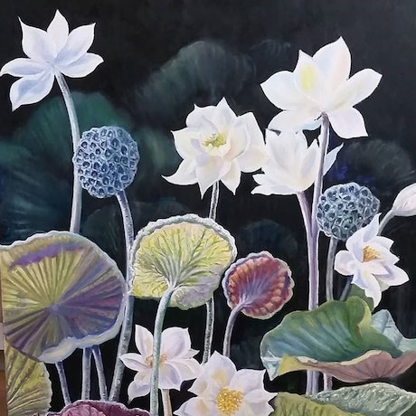 (CreativeWork) 'LOTUS LILLY POND'  framed by Susan Capan. Oil Paint. Shop online at Bluethumb.