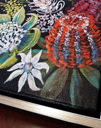 (CreativeWork) 'Australian Native Flowers' - small perfect for gift.  by Susan Capan. Oil Paint. Shop online at Bluethumb.