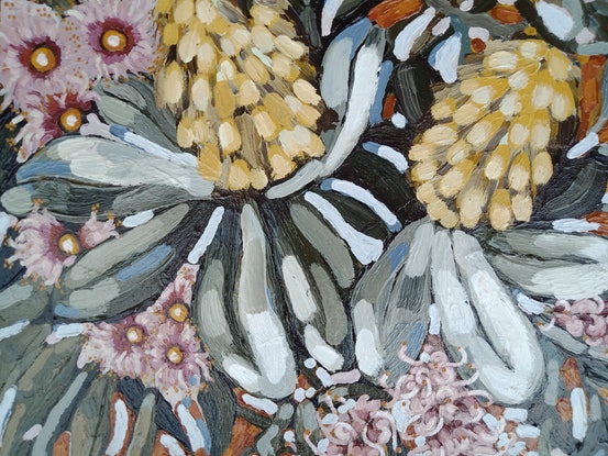 """(CreativeWork) """"CROSS COUNTRY FLORALS"""" by Emily Day. Acrylic Paint. Shop online at Bluethumb."""