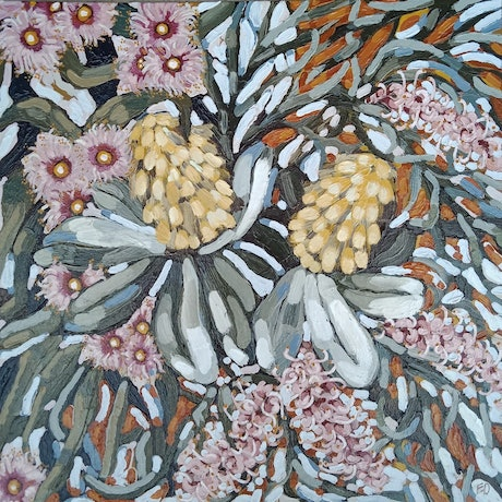 "(CreativeWork) ""CROSS COUNTRY FLORALS"" by Emily Day. Acrylic Paint. Shop online at Bluethumb."