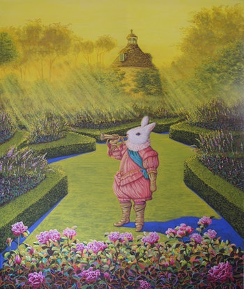 (CreativeWork) The herald's bugle hails the dawn (Alice in Wonderland series) by Sue Smith. Acrylic Paint. Shop online at Bluethumb.