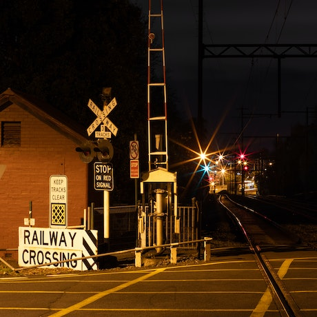 (CreativeWork) Rail Structures and Lights Ed. 1 of 6 by Joshua Tomlinson. Photograph. Shop online at Bluethumb.