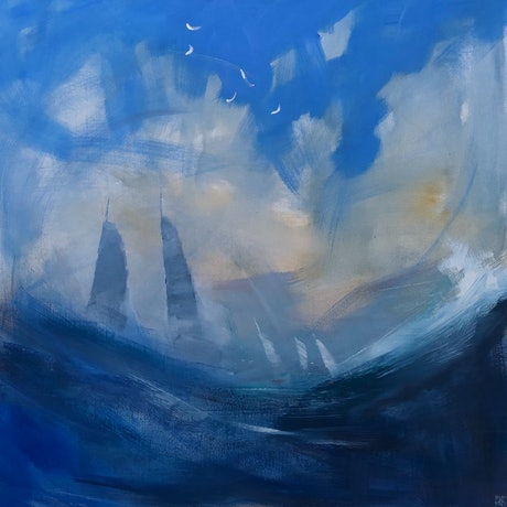 (CreativeWork) Sails in a tempest by Mike Barr. Acrylic Paint. Shop online at Bluethumb.