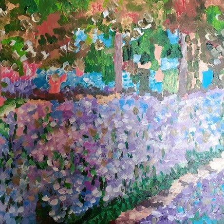 (CreativeWork) Monet's Garden in Giverny by Jenny Chen. Acrylic Paint. Shop online at Bluethumb.
