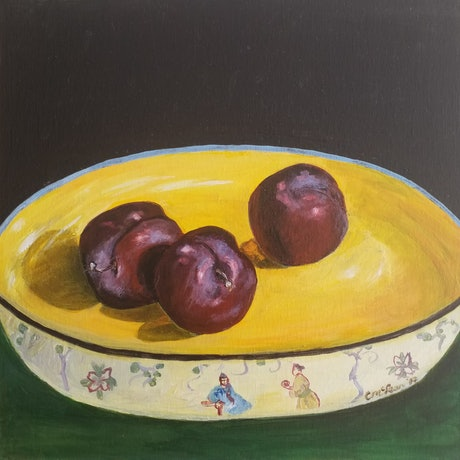 (CreativeWork) Plums by Christine McLean. Acrylic Paint. Shop online at Bluethumb.