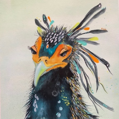(CreativeWork) The Secretary Bird by Deb Webb. Mixed Media. Shop online at Bluethumb.